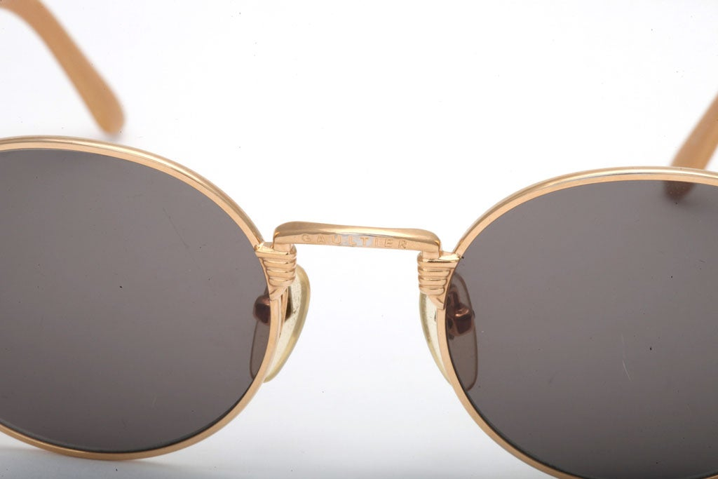 Women's or Men's Jean Paul Gaultier 56-6106 Gold Sunglasses For Sale