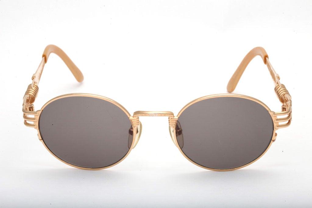 Jean Paul Gaultier 56-6106 Gold Sunglasses For Sale 1