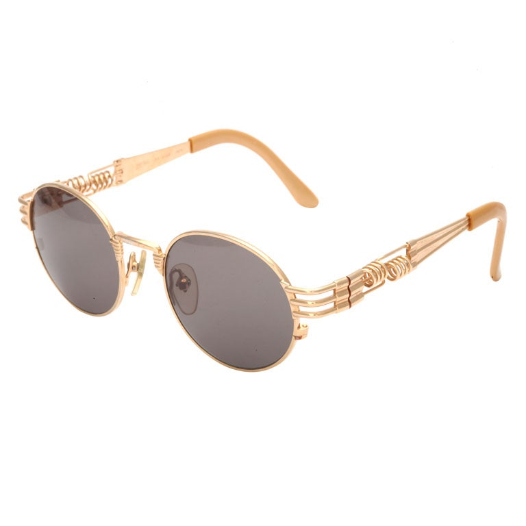 Jean Paul Gaultier 56-6106 Gold Sunglasses For Sale
