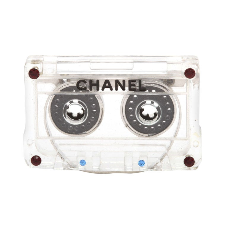 Chanel Mini Cassette Tape Motif Brooch 1