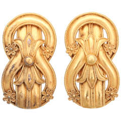 Etruscan Style Gold Clip on  Earrings