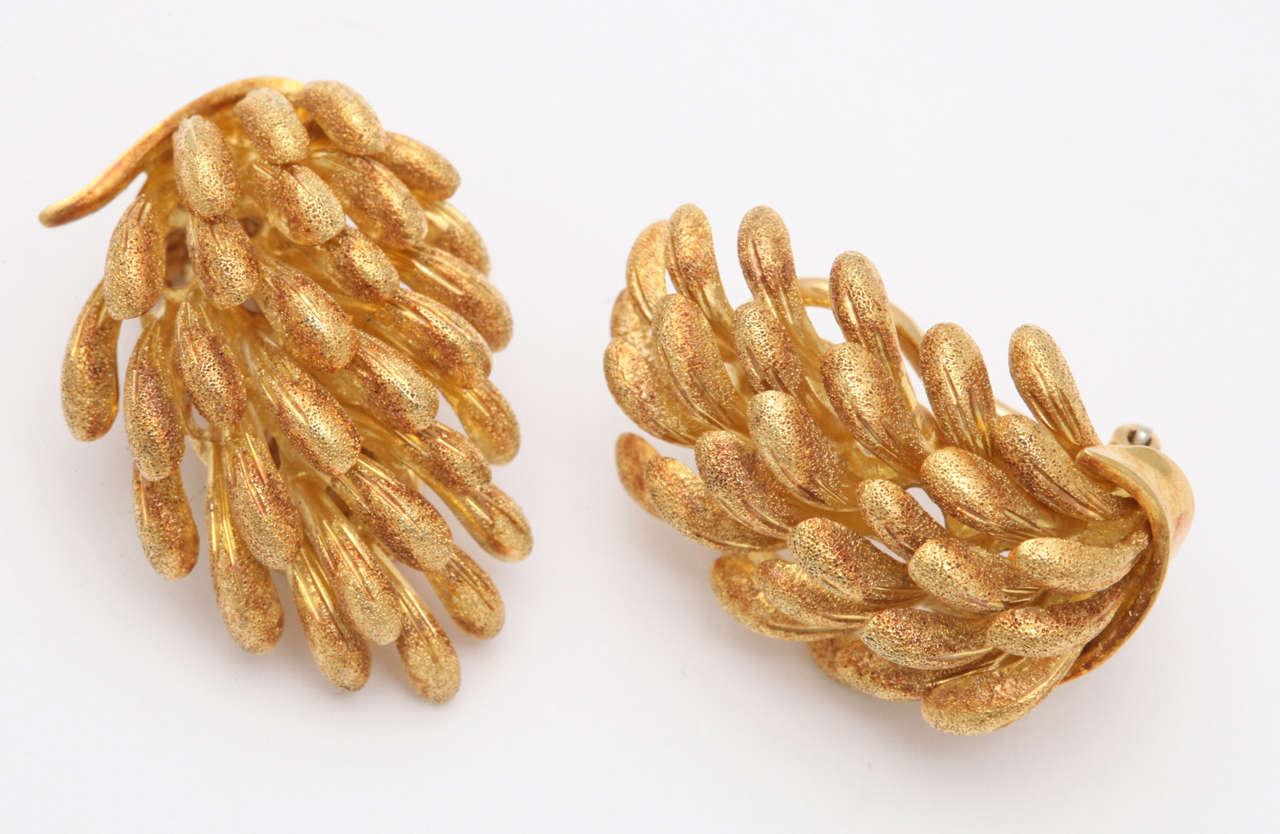 Yellow Gold Banana Clip On Earrings 2