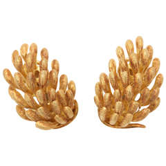Yellow Gold Banana Clip On Earrings