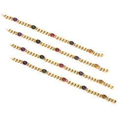 Gold Convertible Multi Stone Bracelet/ Necklace Set