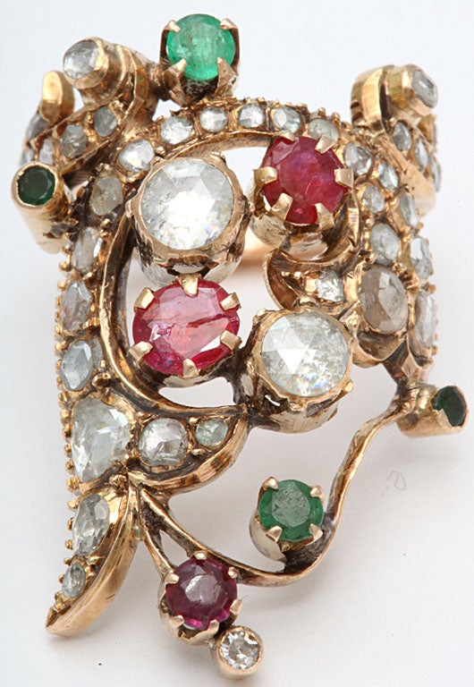 Rose Diamond and Colored Stone Index Ring at 1stdibs