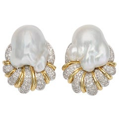 South Sea Pearl Baroque & Diamond Earrings