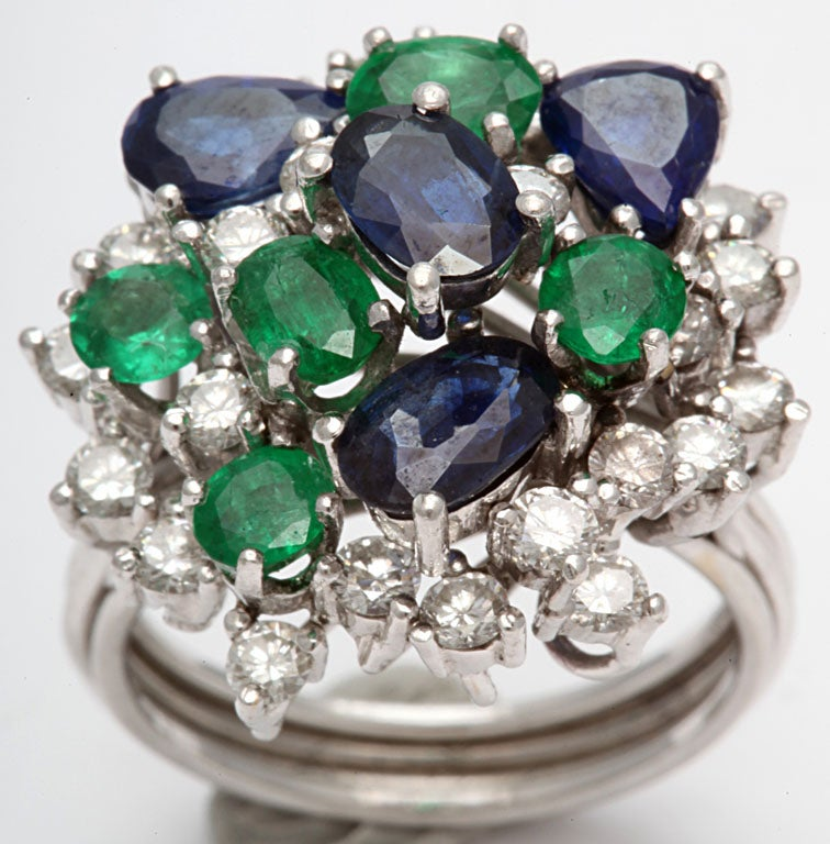 Assymetric Sapphire  Emerald &diamond Cocktail Ring 3