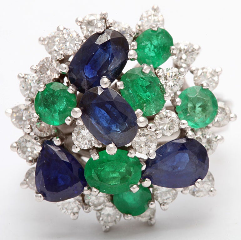 Assymetric Sapphire  Emerald &diamond Cocktail Ring For Sale 1