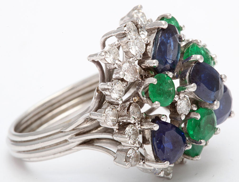 Assymetric Sapphire  Emerald &diamond Cocktail Ring For Sale 2