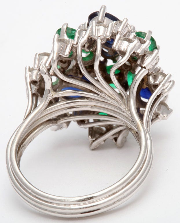 Assymetric Sapphire  Emerald &diamond Cocktail Ring For Sale 3