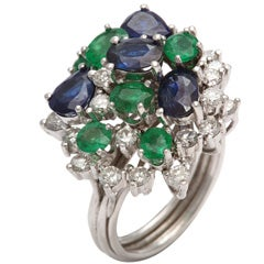 Assymetric Sapphire  Emerald &diamond Cocktail Ring