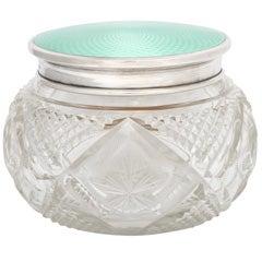 Sterling Silver, Celadon Green Enamel and Crystal Powder Jar
