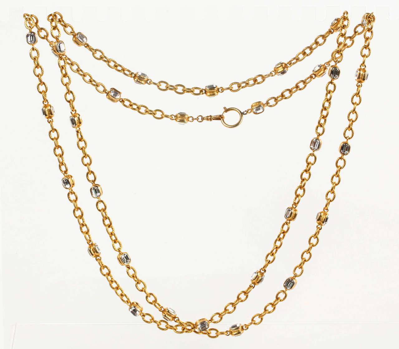Chanel Gold Chain and Crystal Sautoir 2