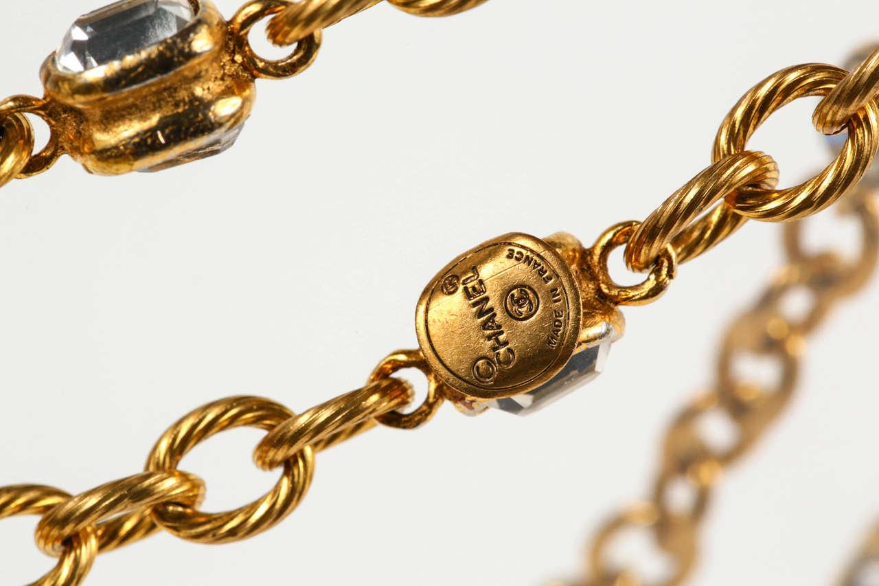 Chanel Gold Chain and Crystal Sautoir 6