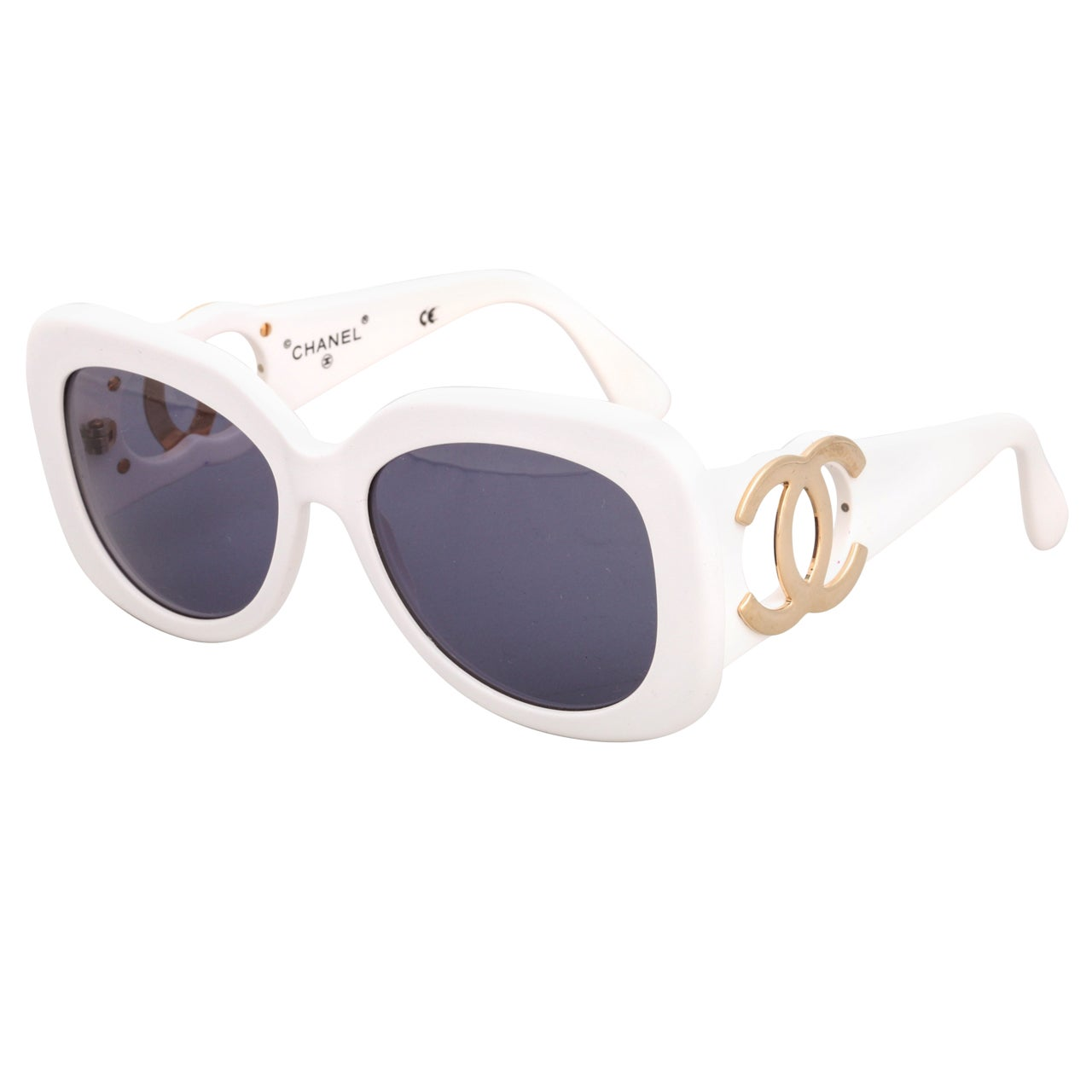 Chanel White Sunglasses  chanel white sunglasses with gold cc at 1stdibs