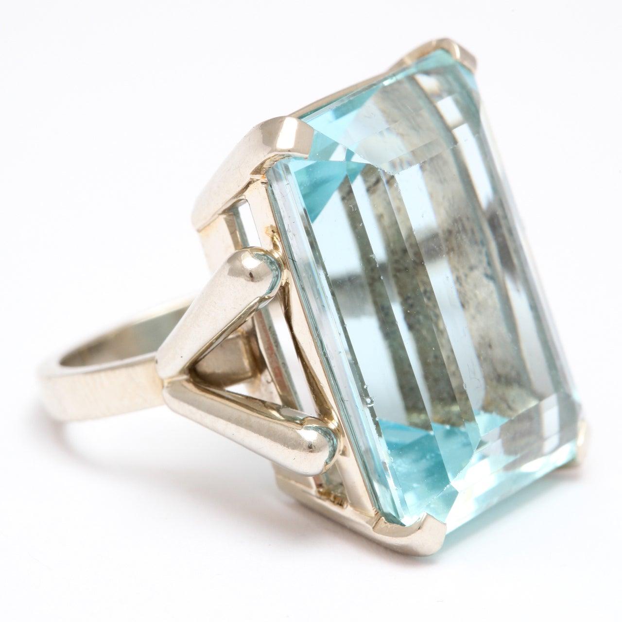 aquamarine white gold retro ring at 1stdibs