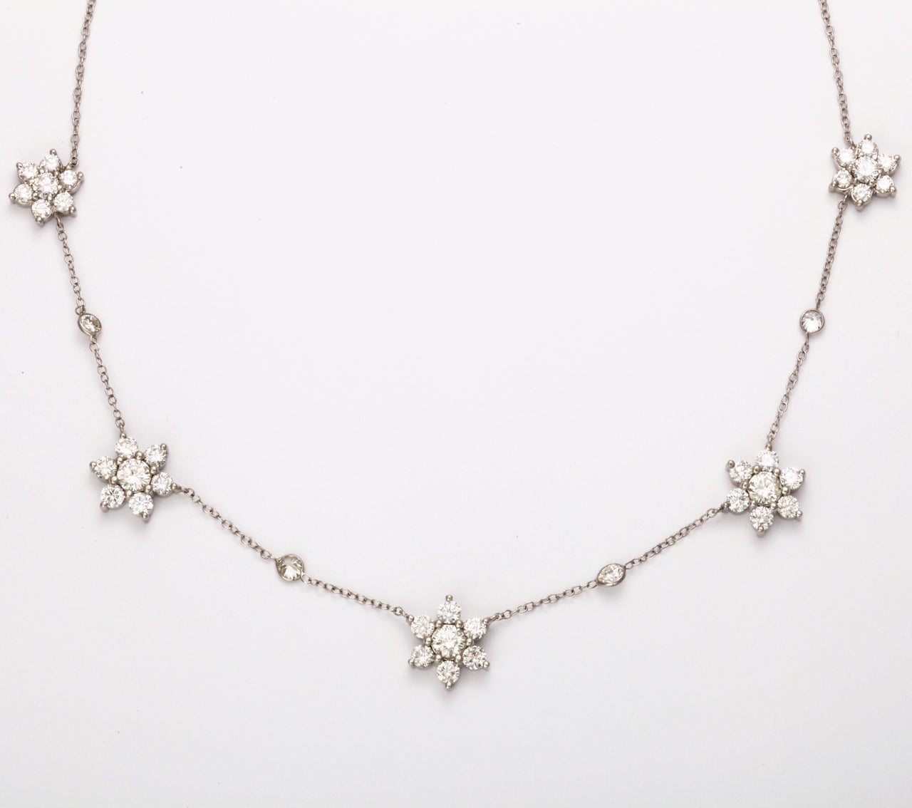 Gorgeous Diamond Flower Cluster Necklace at 1stdibs