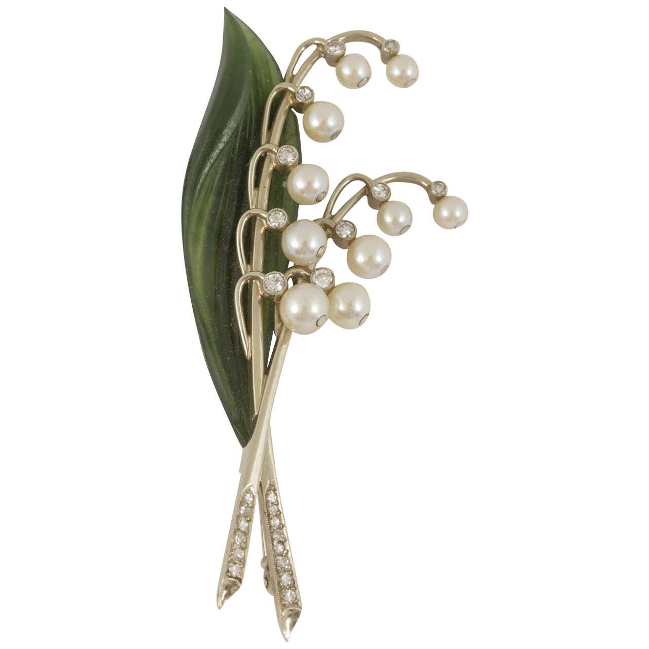 Austrian natural pearl nephrite diamond lily of the valley spray austrian natural pearl nephrite diamond lily of the valley spray brooch for sale izmirmasajfo Gallery