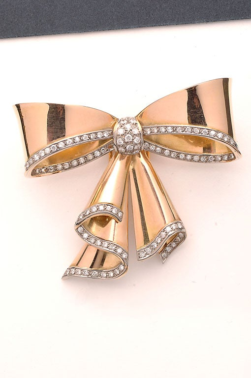 Retro Gold and Diamond Bow Brooch For Sale 1