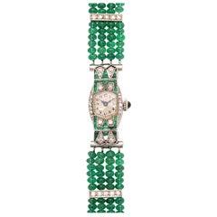 Art Deco Emerald & Diamond Longines Watch on Emerald Band