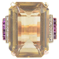 Retro Citrine Synthetic Ruby Diamond Gold Cocktail Ring