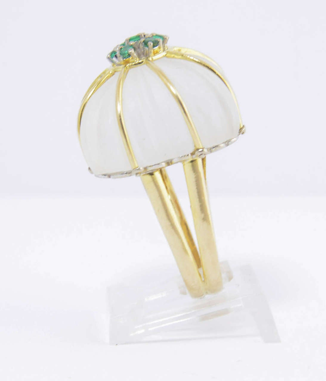 Women's 1970s Carved Rock Crystal Emerald Gold Ring For Sale