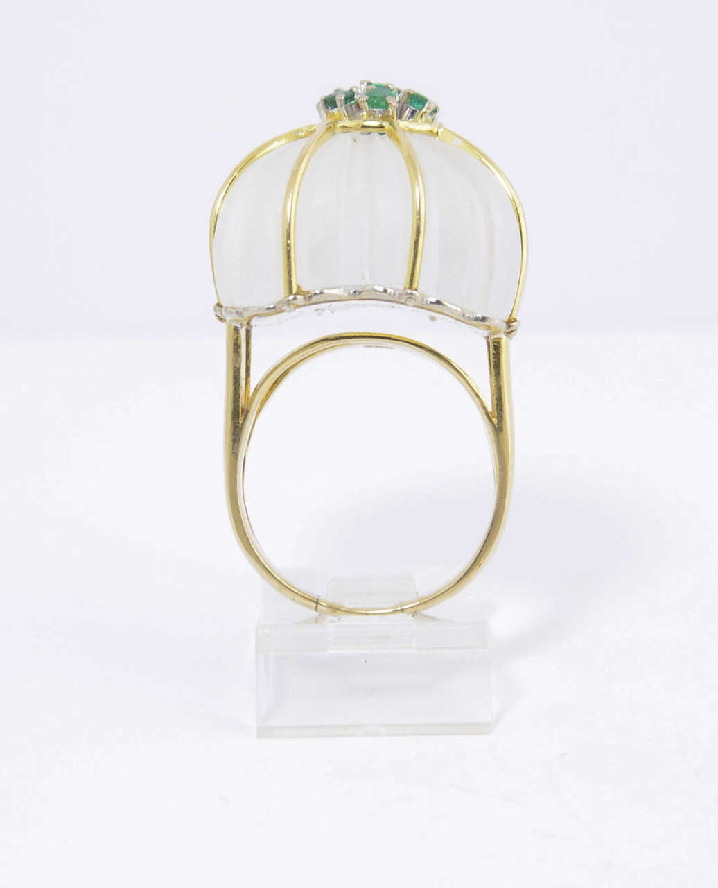 1970s Carved Rock Crystal Emerald Gold Ring For Sale 1
