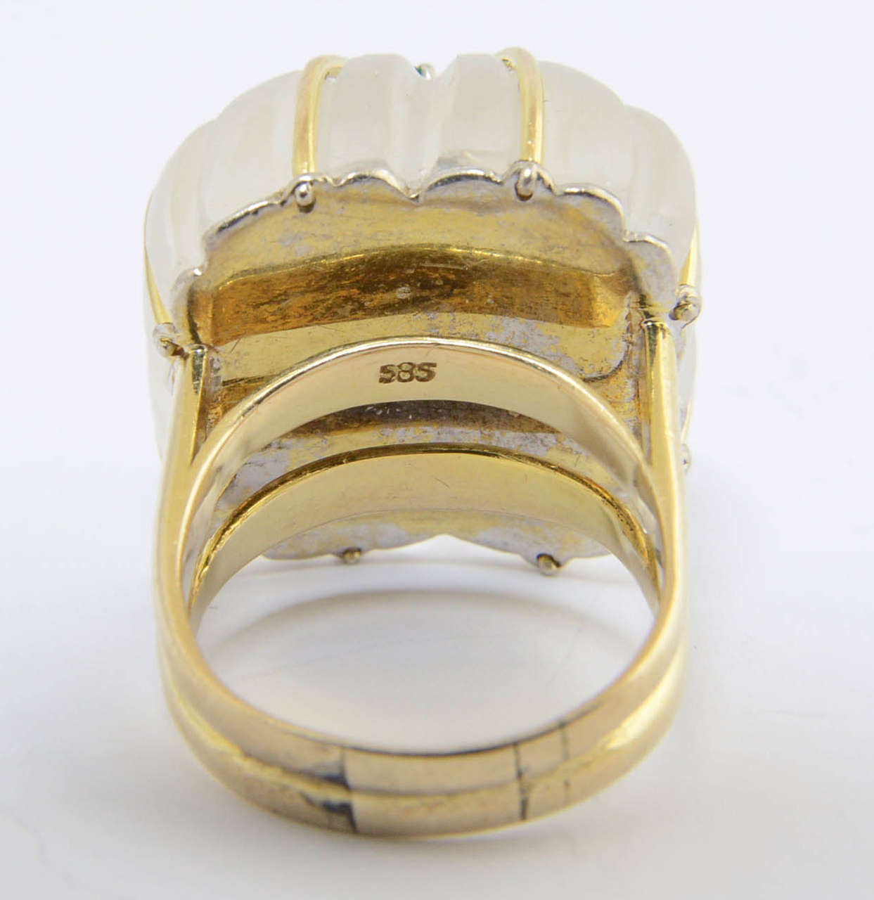 1970s Carved Rock Crystal Emerald Gold Ring For Sale 4