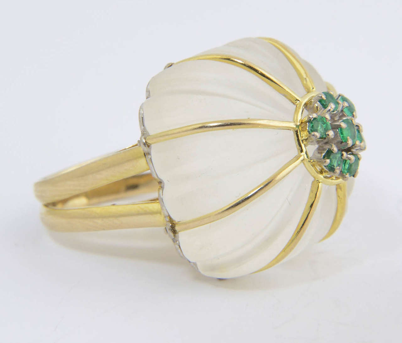 1970s Carved Rock Crystal Emerald Gold Ring For Sale 5