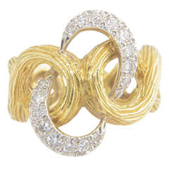 Diamond Textured Gold Swirl Ring