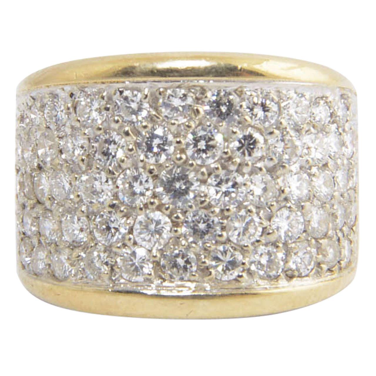 Wide Diamond Gold Band