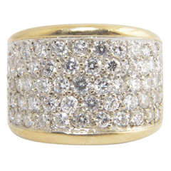 Wide Diamond Gold Band