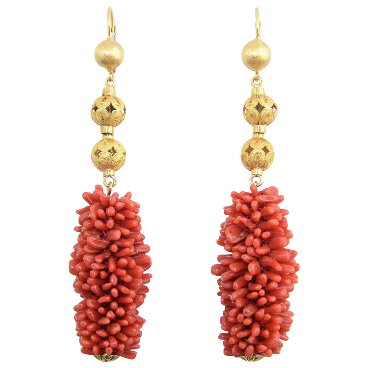 20th Century Long Coral Gold Ball Earrings