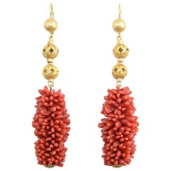 20th Century Long Coral Gold Ball Dangling Earrings
