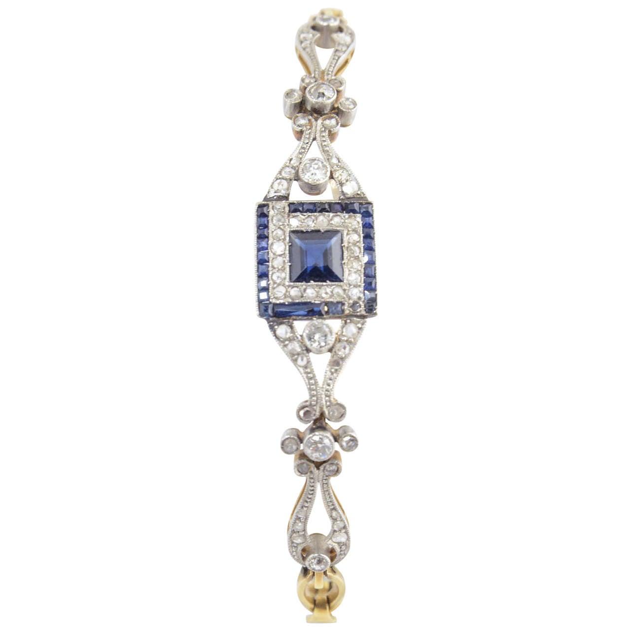 Belle Époque Sapphire Diamond Gold Platinum Bracelet