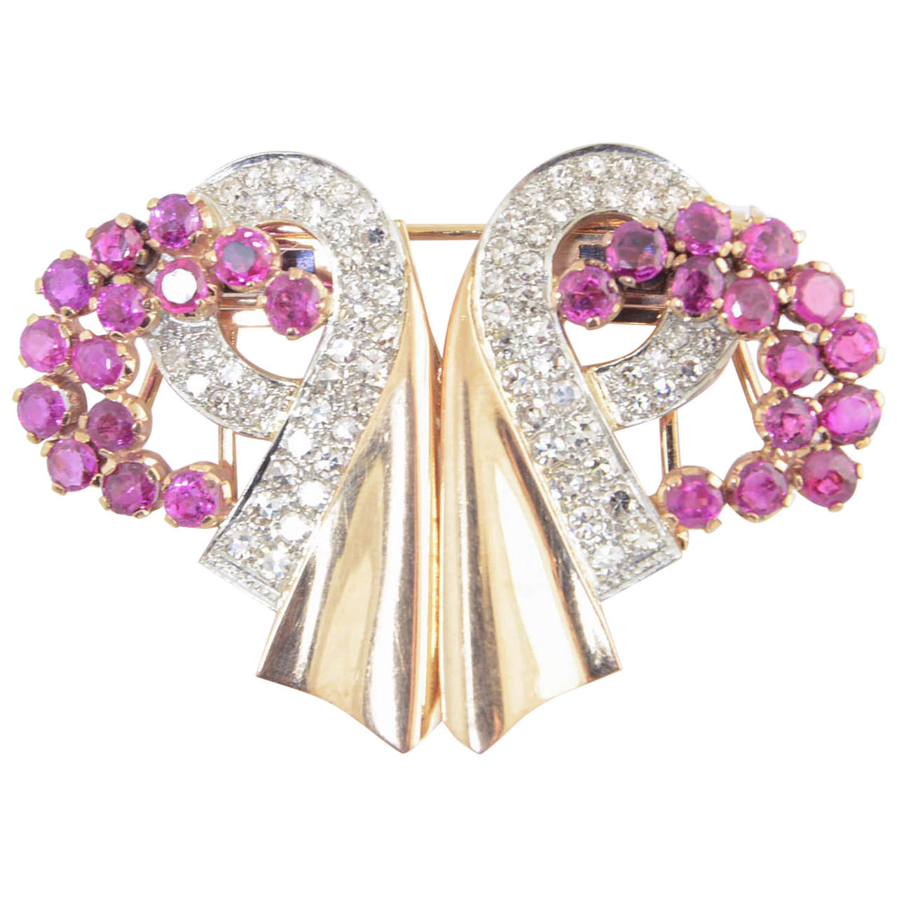 Retro Ruby and Diamond Rose Gold Ribbon Double Clips Brooch