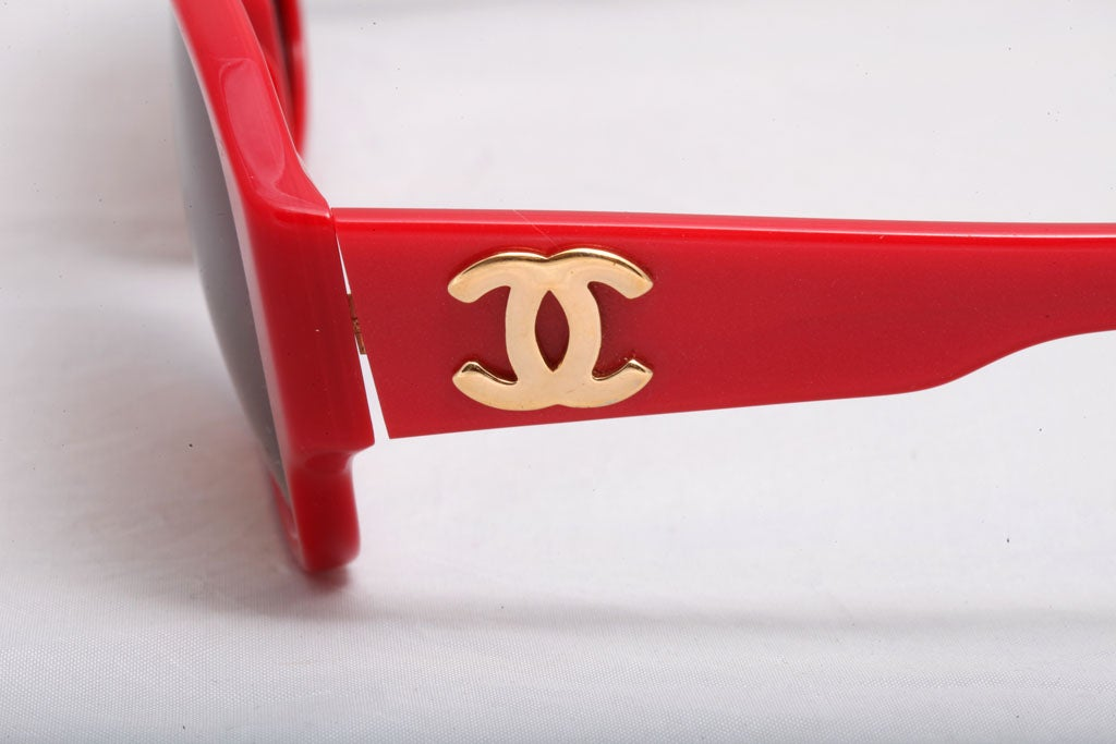 0e8cac85597 RARE CHANEL RED SUNGLASSES WITH GOLD CC at 1stdibs