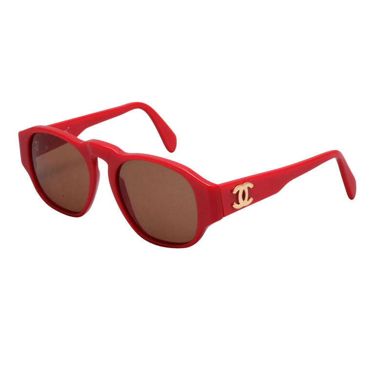 8f055db764 RARE CHANEL RED SUNGLASSES WITH GOLD CC at 1stdibs