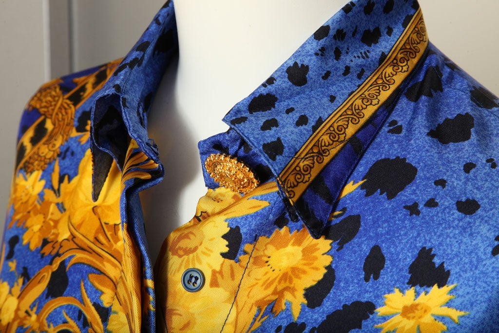 Gianni Versace Silk Shirt Gold Blue At 1stdibs