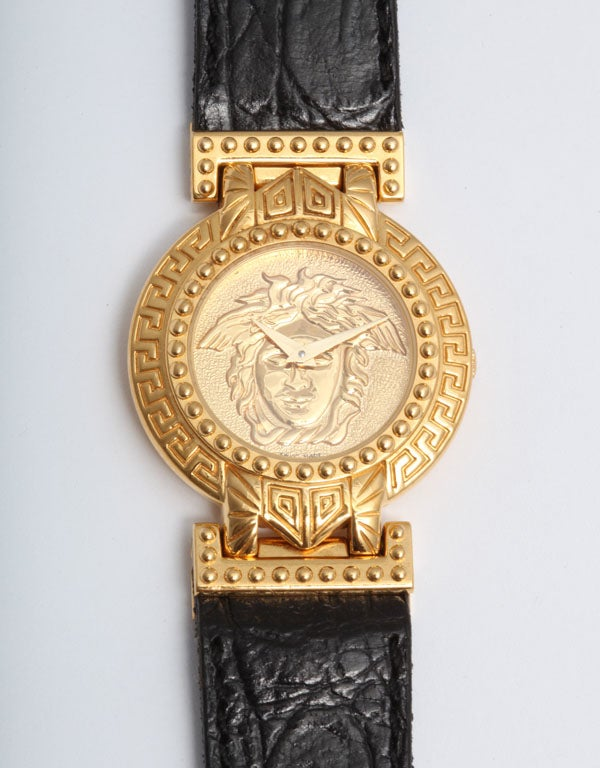 gianni versace gold medusa with croc embossed