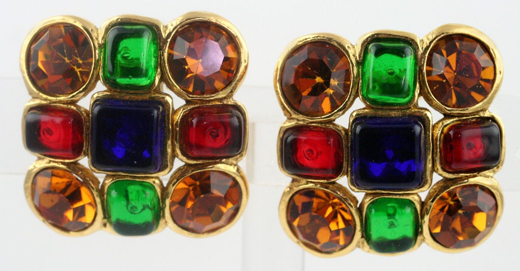 Pair of Chanel Poured Glass and Rhinestone Ear Clips 2