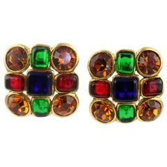 Pair of Chanel Poured Glass and Rhinestone Ear Clips
