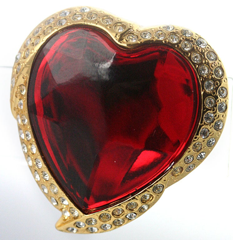 Yves Saint Laurent Heart Shaped Ear Clips In Excellent Condition For Sale In Los Angeles, CA