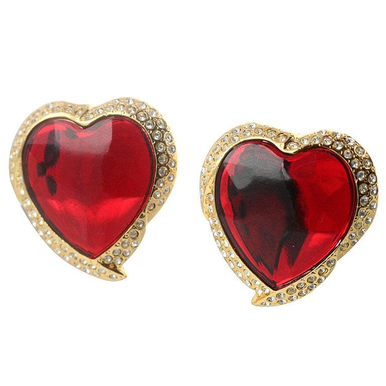 Yves Saint Laurent Heart Shaped Ear Clips For Sale