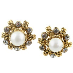 Chanel Glass Pearl & Rhinestone Ear Clips