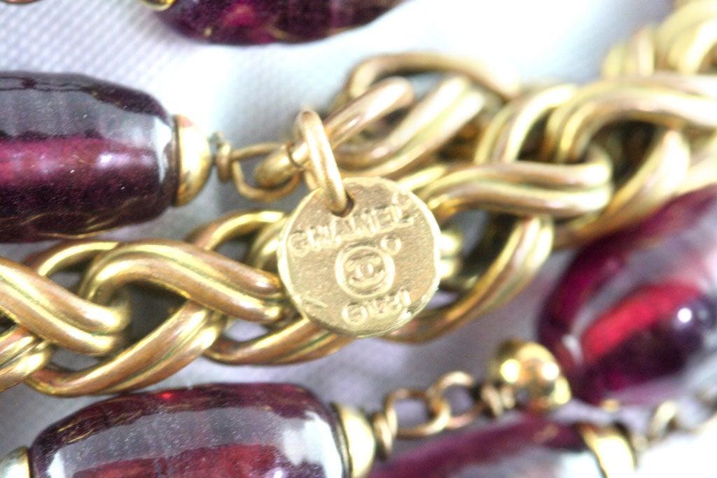 Chanel Rare Poured Glass and Gilt Metal Sautoir 8