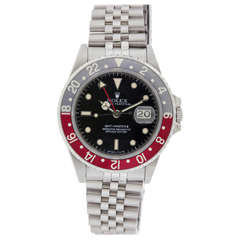 "Rolex Stainless Steel GMT-Master II ""Fat Lady"" Wristwatch Ref 16760 circa 1980s"