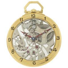 Juvenia Yellow Gold Skeleton Pocket Watch circa 1980s