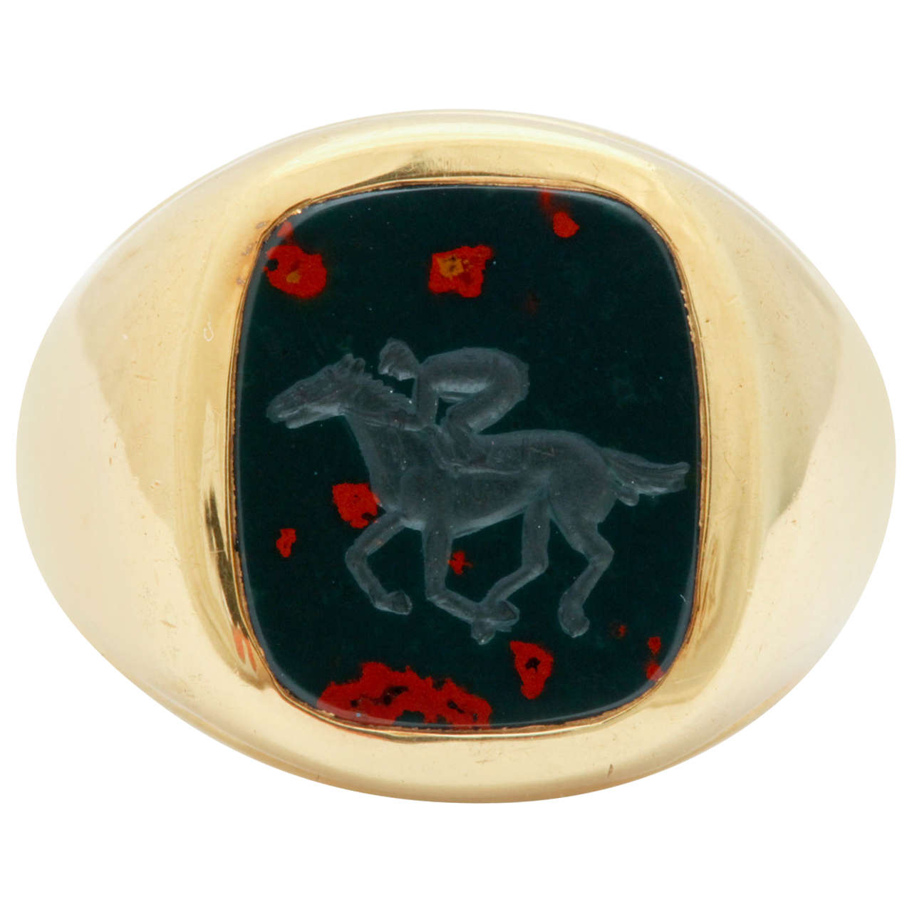 Bloodstone Yellow Gold Jockey Intaglio Ring For Sale At