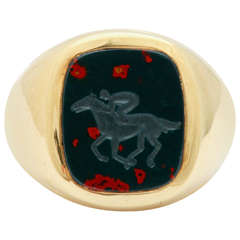 Bloodstone Yellow Gold Jockey Intaglio Ring